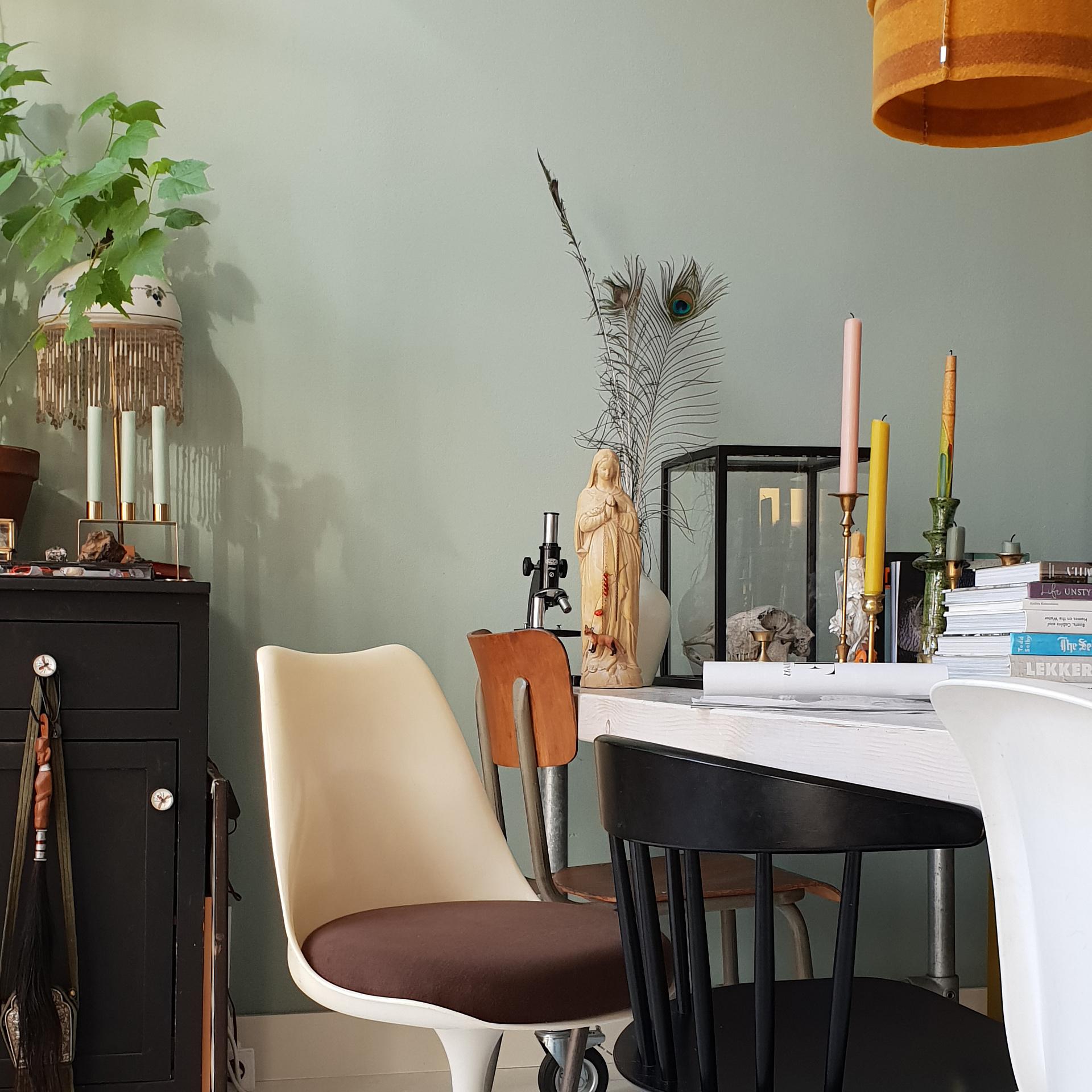// eclectische eetkamer met leemwand en urban jungle
